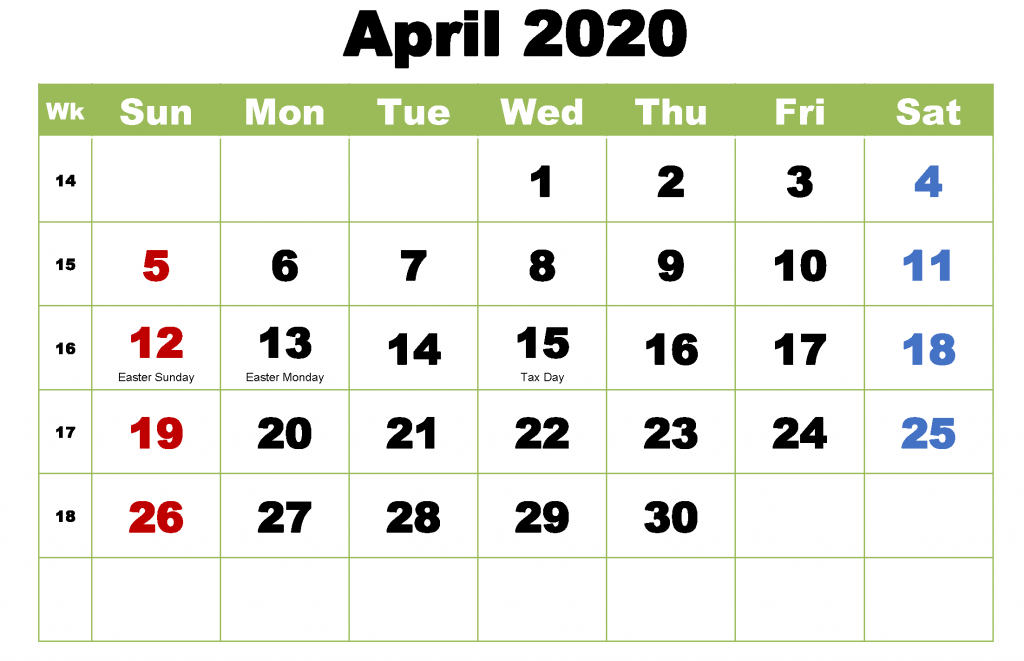 April 2020 Cute template
