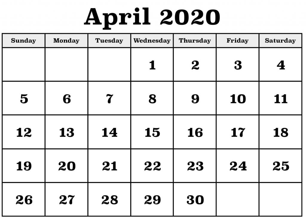 april 2020 calendar template word