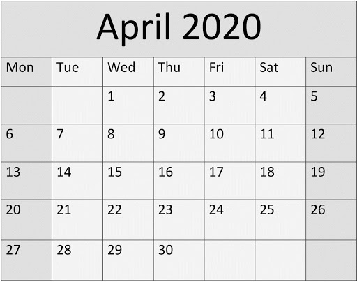 april 2020 printable template