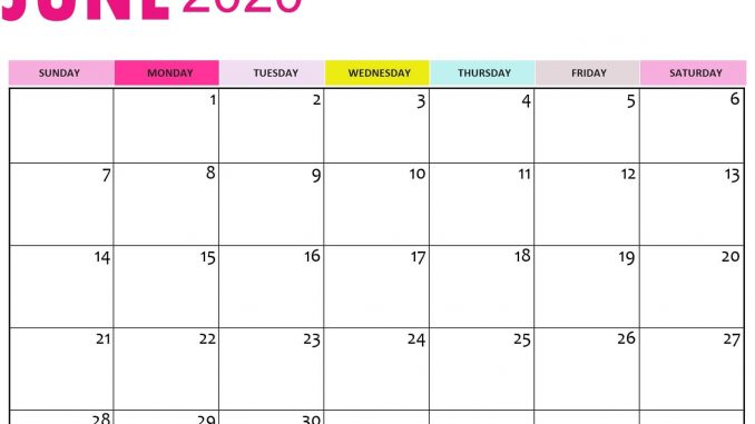 Calendar Of June 2020 Template