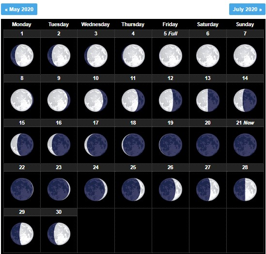 June 2020 Moon Phases Template