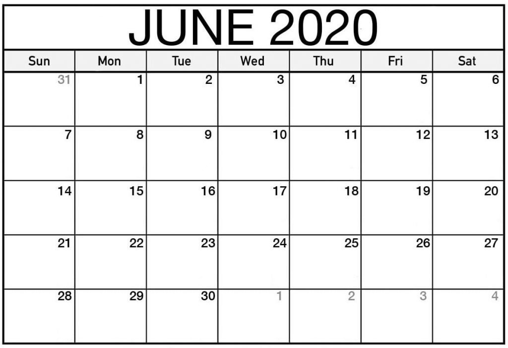Printable Calendar June 2020 Free Template
