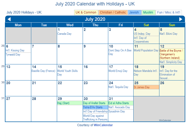 July 2020 Calendar with Holidays UK